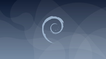 The Debian logo on a blue background