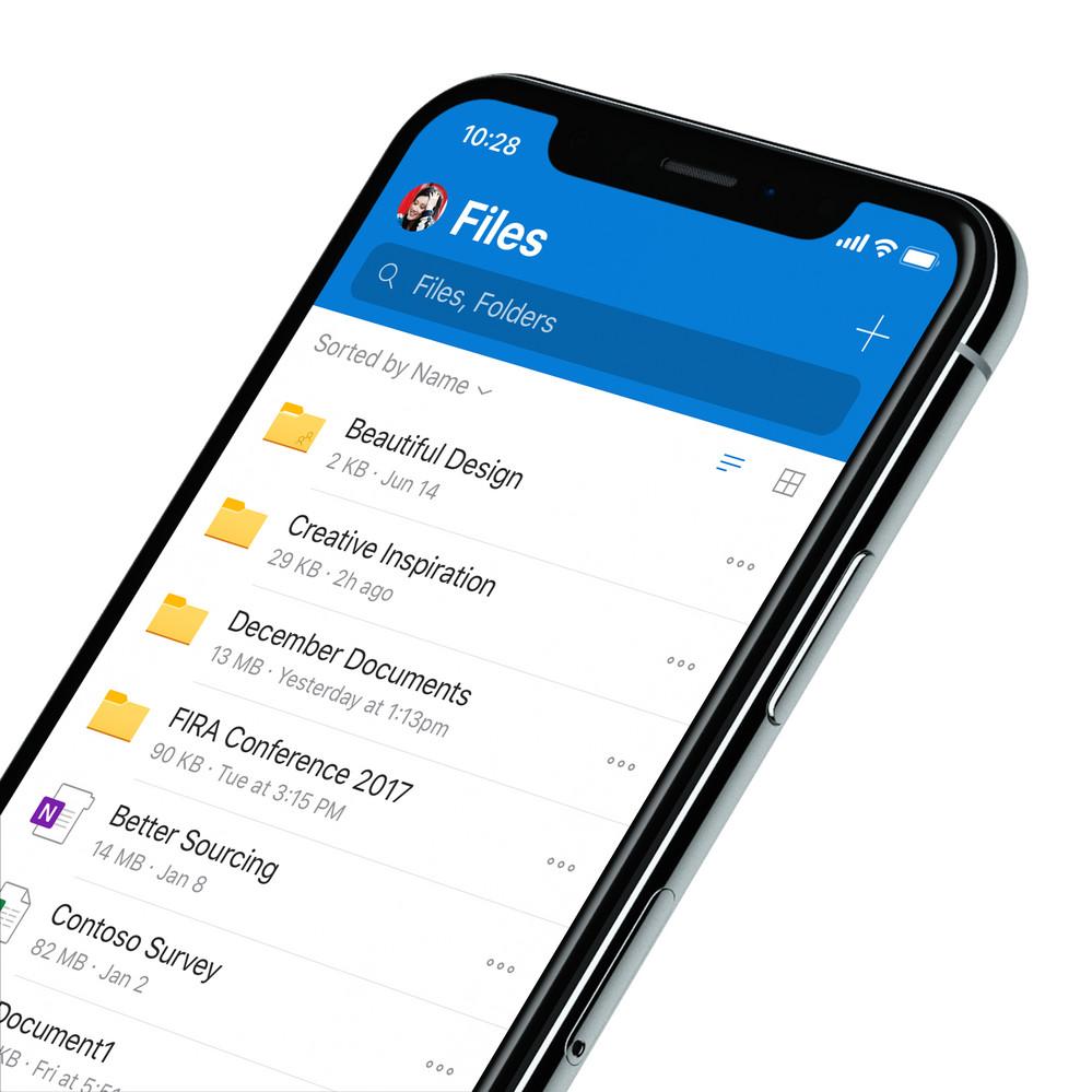 Aparência renovada do OneDrive no iOS