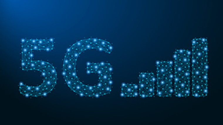The 5G logo on a dark blue background