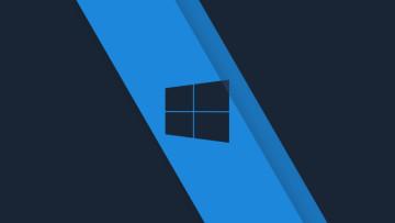Windows 10 logo in black on a light blue background
