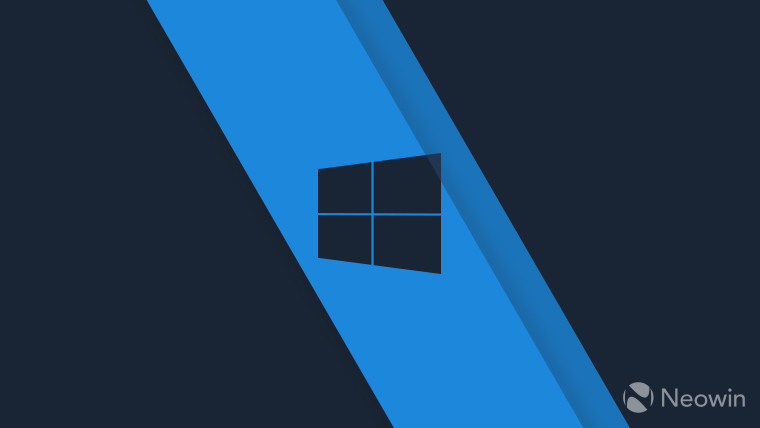 Windows 10 logo in black on a light blue background