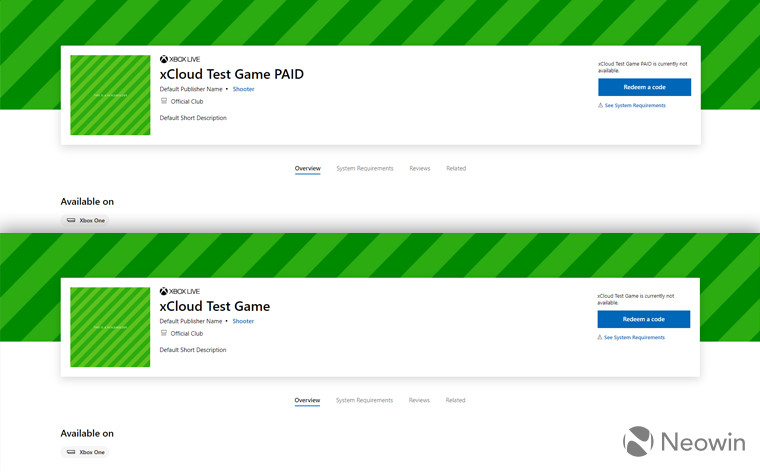 Regular and paid xCloud game placeholder listings appear in