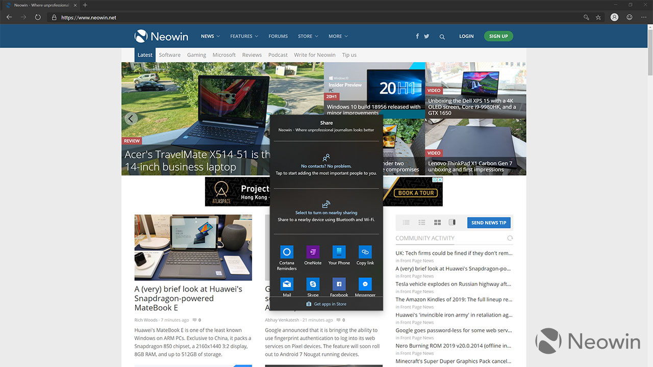 Microsoft finally adds the share dialog in latest Edge