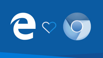 Edge Legacy logo and Chromium logo joined by heart shape with blue background