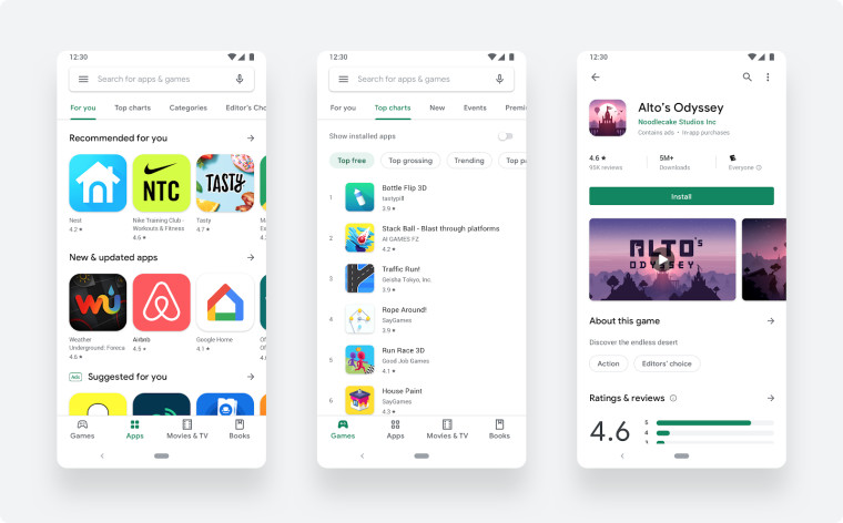 redesigned play store