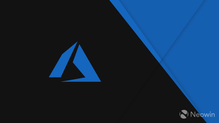 A blue Microsoft Azure logo left half of the image is black right half is blue
