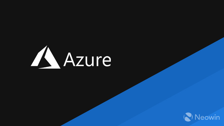 The Azure logo and text left half of image is black right half is blue