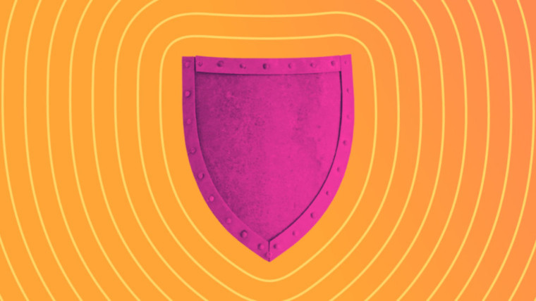 A shield on an orange background
