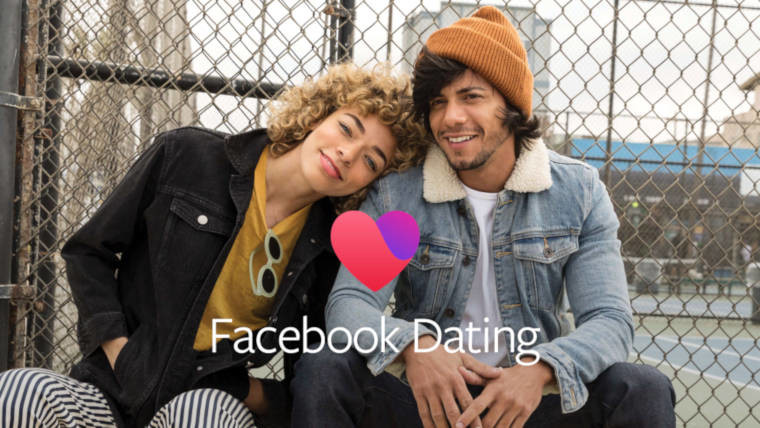 Woman with head on man's shoulder and Facebook Dating logo