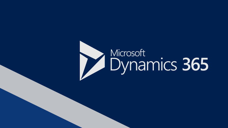 Dynamics 365 white logo with blue background striped on the bottom left