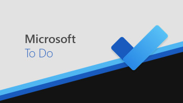 Microsoft To Do logo and wording against a grey, black, and blue background