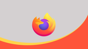 The Firefox logo on a grey yellow and orange background