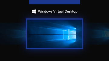 Windows logo showing blue light coming through and a Windows Virtual Desktop written atop