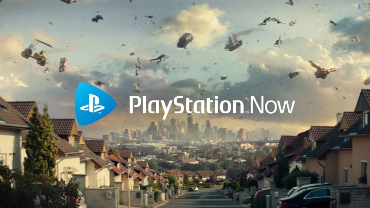 A graphic of PlayStation Now with a game in the background