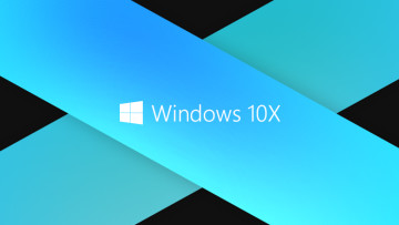Windows 10X text and logo on blue stripes with black background