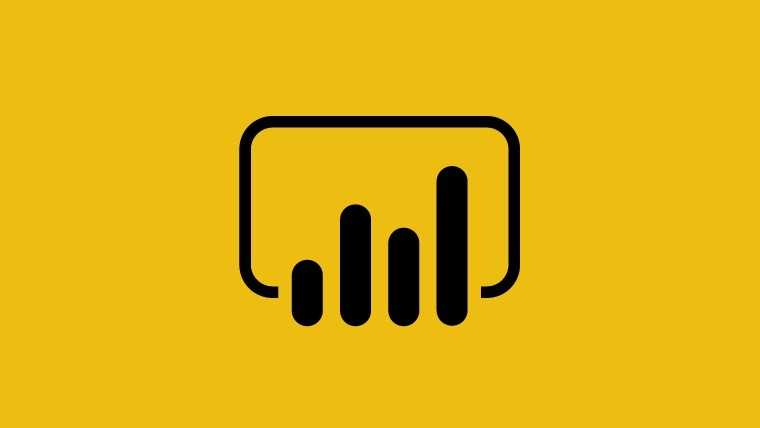 Power BI logo in the center yellow background