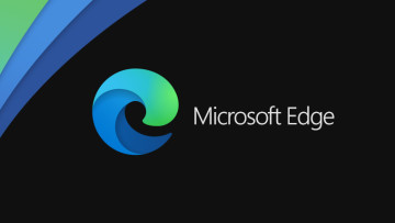 Microsoft Edge text with Edge logo on black background