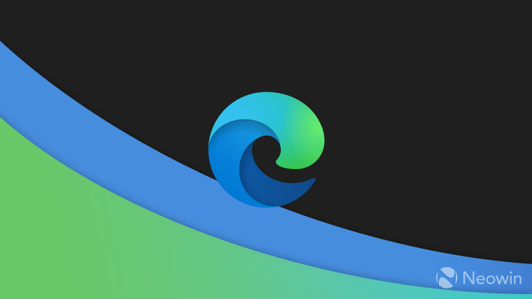 Microsoft Edge logo on a dark background with blue and green waves under it