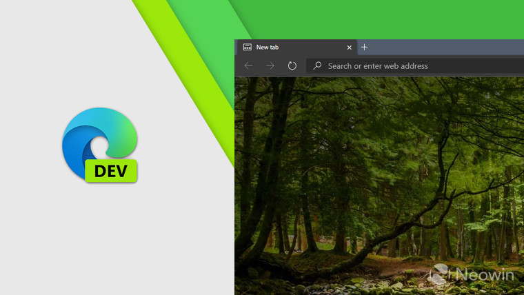 Edge Dev logo and a screenshot of the browser on a light colorful background