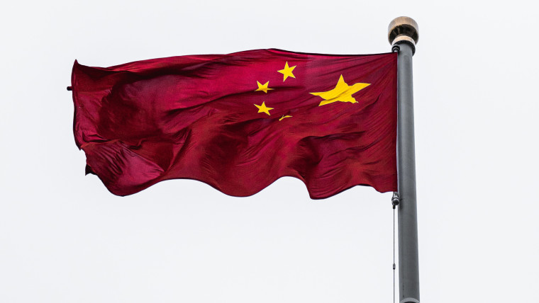 Chinese flag on a flagpole