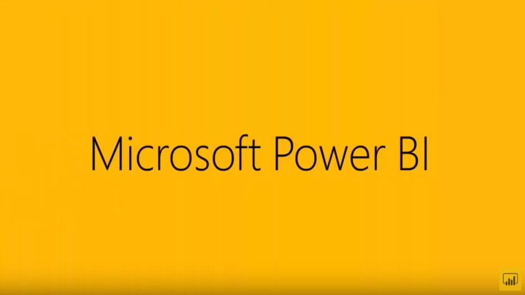 Centered text with Microsoft Power BI written, small Power BI logo at the bottom right