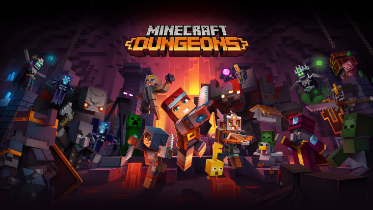 Minecraft Dungeons logo above a number of playable characters and enemies in the game