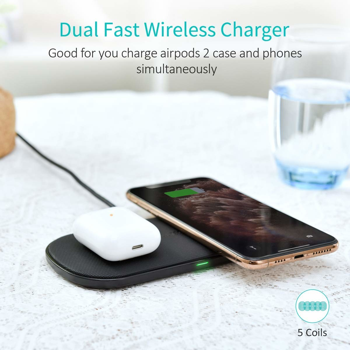 Save 35% off this CHOETECH Dual Fast Wireless Charging Pad