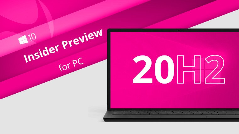 Windows 10 Insider Preview for PC written next to a PC with the letters 20H2