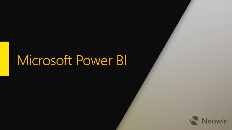Microsoft Power BI text in the middle left side black right side a shade of grey