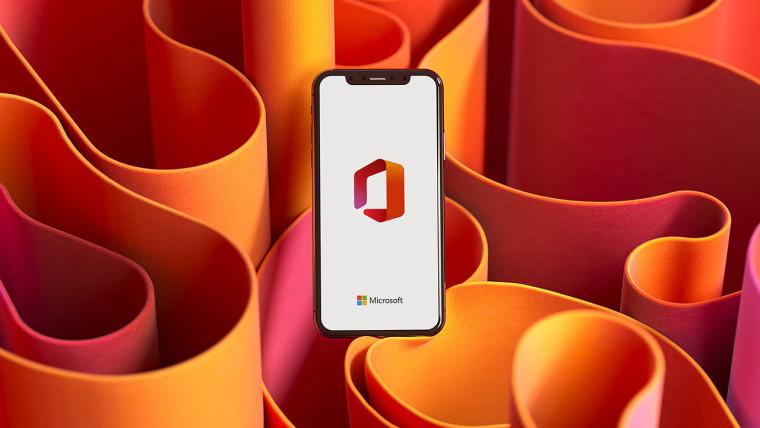 Microsoft Office splash screen on a generic handset on an orange patterned background