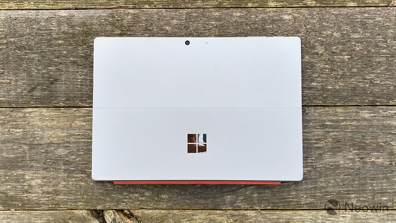 Top-down view of Surface Pro 7+ with red keyboard
