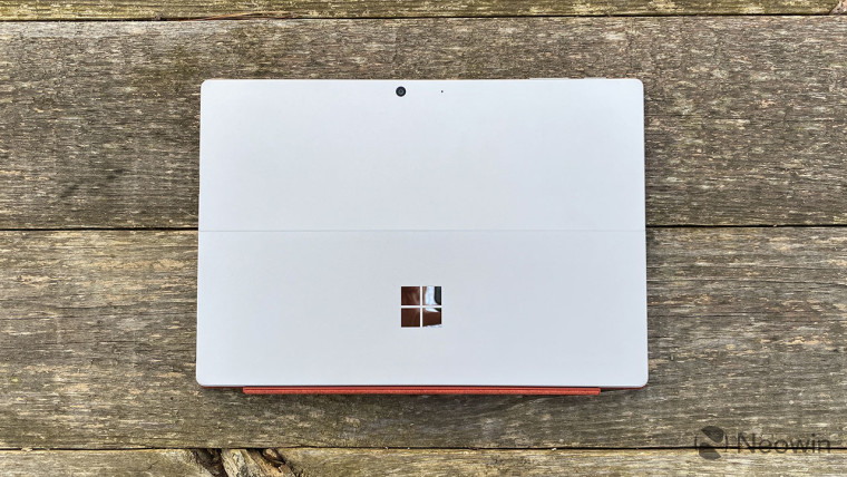Top-down view of Surface Pro 7 with red keyboard