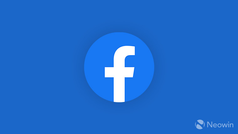 Round Facebook logo on a blue background