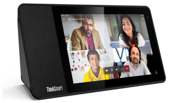 Lenovo ThinkSmart View showing a Teams meeting with four people
