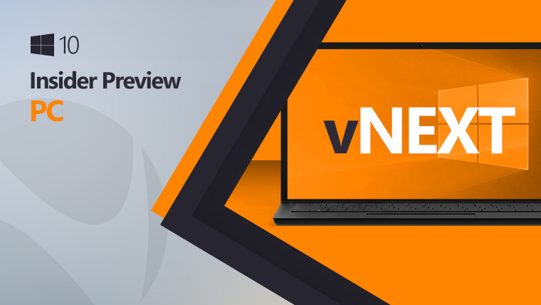 Windows 10 logo next to a laptop with the vNext text inside, on a grey and orange background