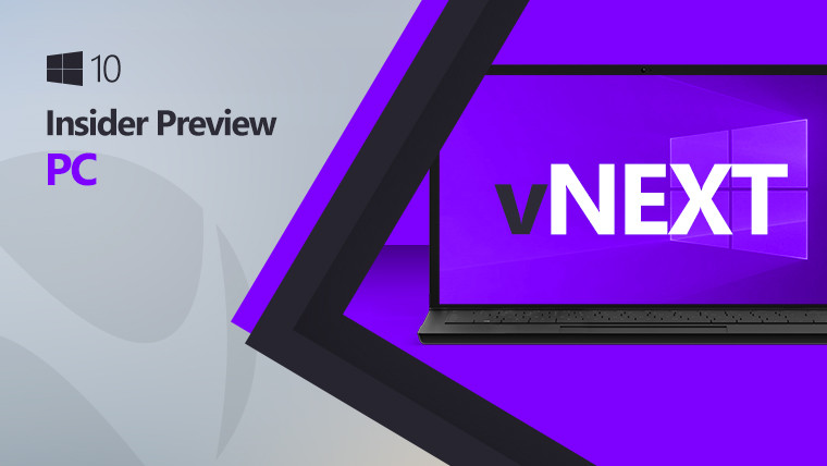Laptop with vNext text on a purple background and Windows 10 logo