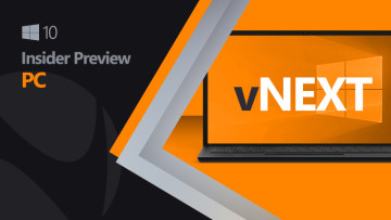 Windows 10 logo next to a laptop with the vNext text inside on a black and orange background