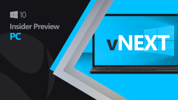 Laptop with vNext text and Windows 10 logo
