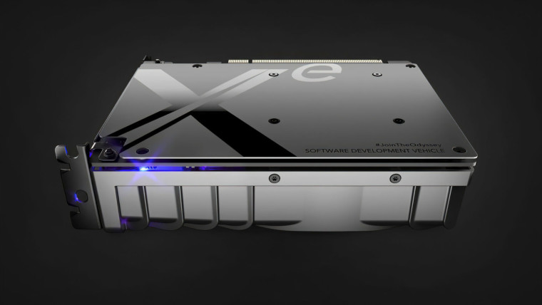 Backplate view of the Intel Xe dev kit