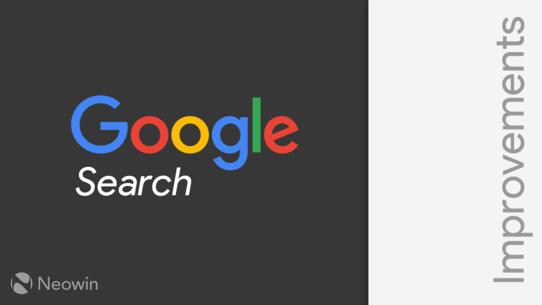 Google Search logo on the left with Improvements written vertically on the right