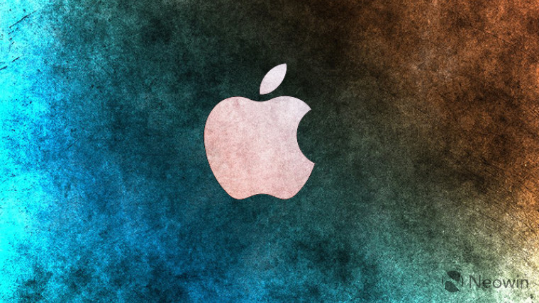 Apple logo on a blue and orange cloud