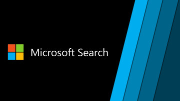 Microsoft Search text next to a Microsoft logo on a black background