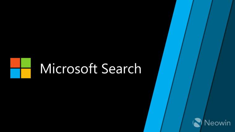 Microsoft Search text next to a Microsoft logo on a black background