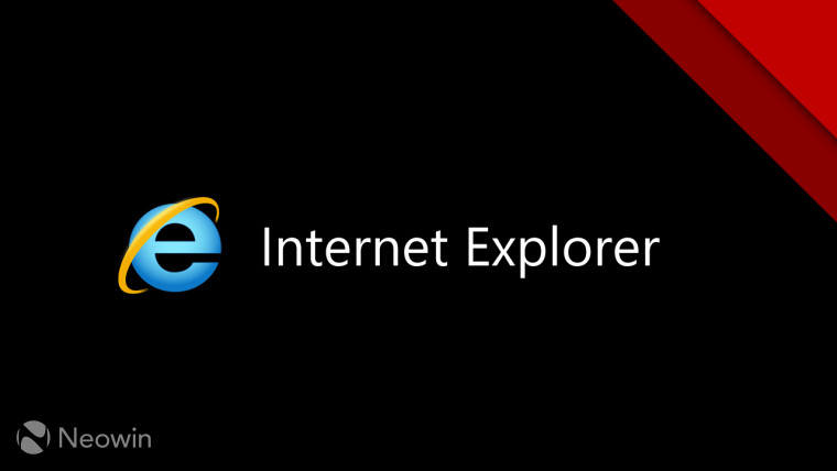 Logo of Internet Explorer 11 on a black and red background