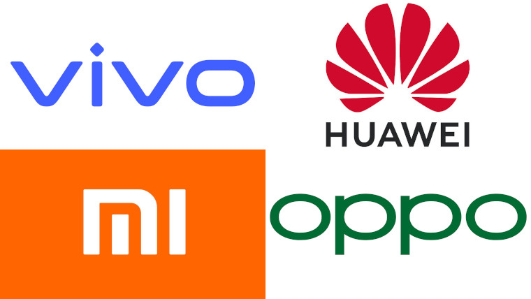 The logos of Vivo, Huawei, Oppo, and Xiaomi