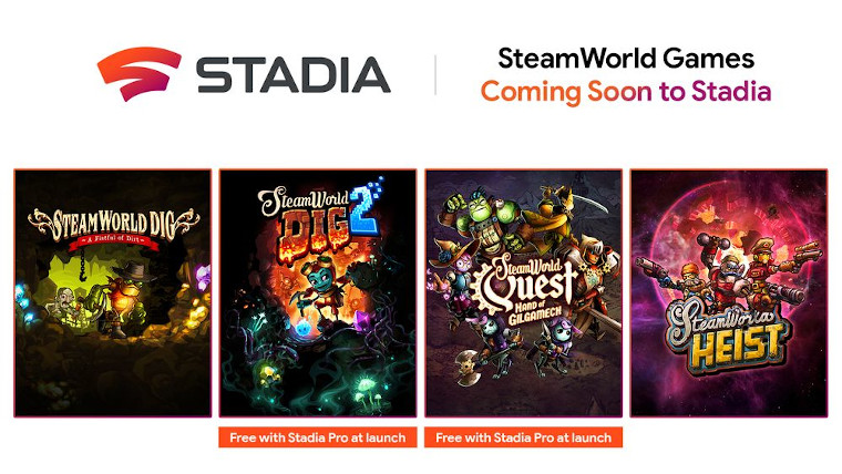 Cover of the upcoming games. It says SteamWorld Games, Cooming Soon to Stadia