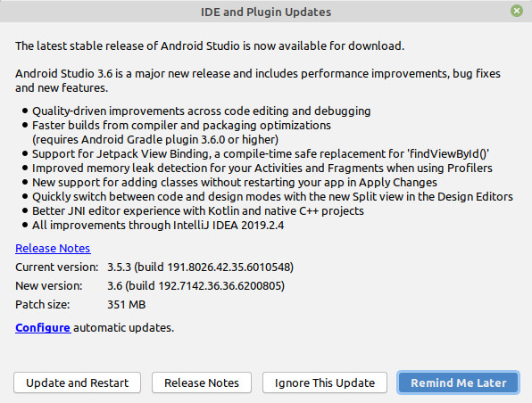 The update dialog in Android Studio