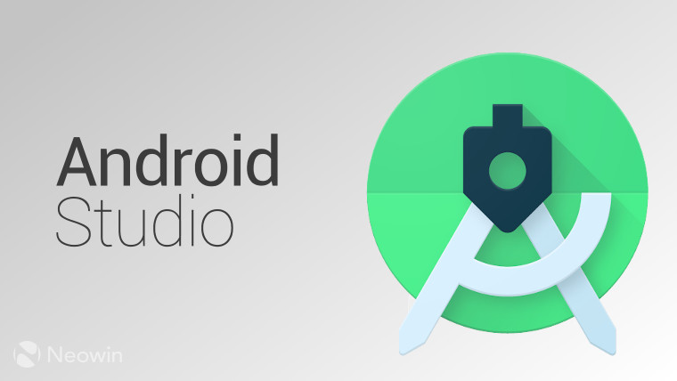 'Android Studio' written on a silver background aside the new Android Studio logo