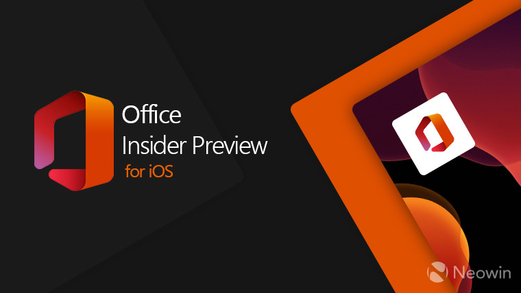 Office Insider Preview for iOS text on a dark background next to the Office logo