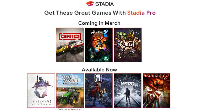 Image showing the covers of new games out on Stadia Pro in March